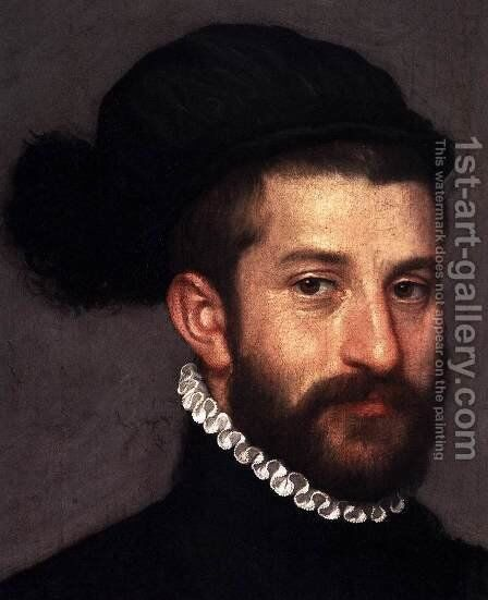 The Black Knight (detail) by Giovanni Battista Moroni - Reproduction Oil Painting