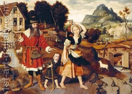 Abraham and Hagar by Jan Mostaert - Reproduction Oil Painting