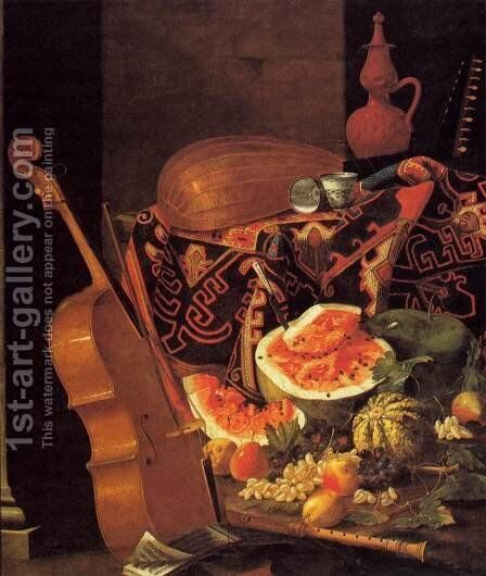 Still-Life with Musical Instruments and Fruit by Cristoforo Munari - Reproduction Oil Painting