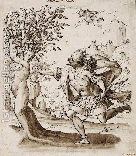 Apollo and Daphne by Christoph Murer - Reproduction Oil Painting