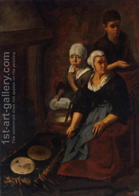 Baking of Flat Cakes by Bartolome Esteban Murillo - Reproduction Oil Painting