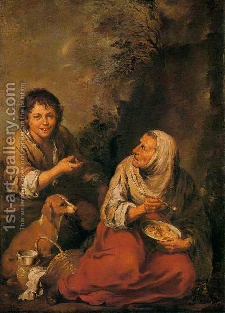 Old Woman and Boy by Bartolome Esteban Murillo - Reproduction Oil Painting