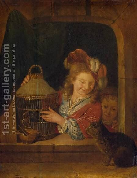 Children with a Cage and a Cat by Eglon van der Neer - Reproduction Oil Painting