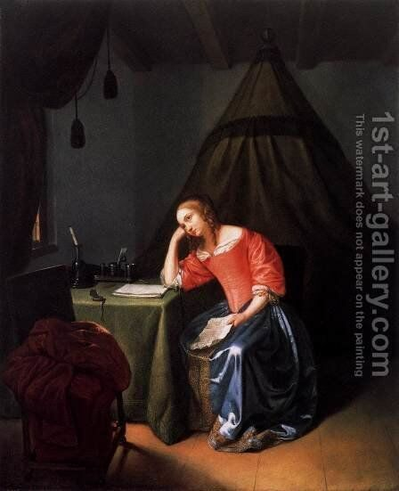 Young Girl Holding a Letter by Caspar Netscher - Reproduction Oil Painting