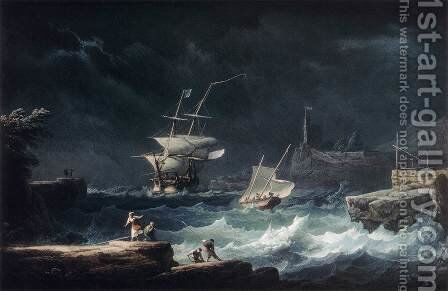 Gale at Sea by Alexandre-Jean Noel - Reproduction Oil Painting