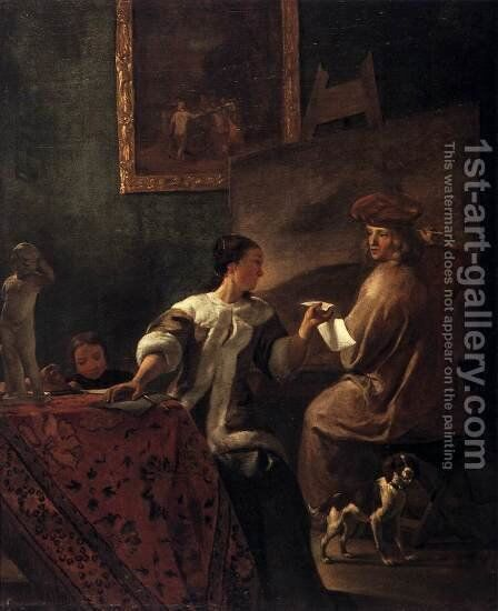 The Drawing Lesson by Jacob Ochtervelt - Reproduction Oil Painting