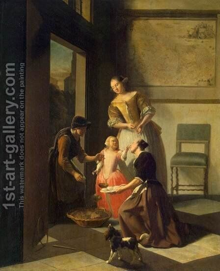 Buying Grapes by Jacob Ochtervelt - Reproduction Oil Painting