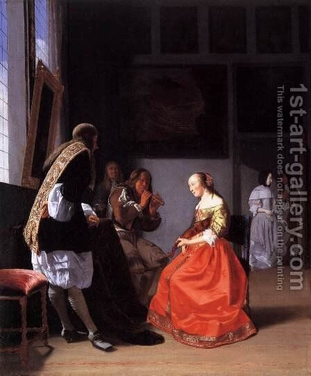 Musical Company in an Interior by Jacob Ochtervelt - Reproduction Oil Painting