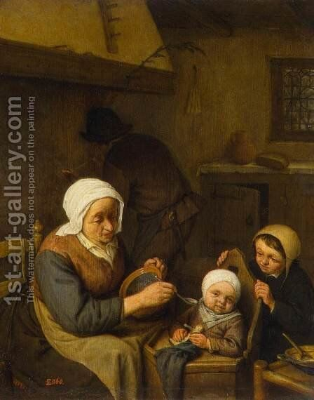 Peasant Family by Adriaen Jansz. Van Ostade - Reproduction Oil Painting