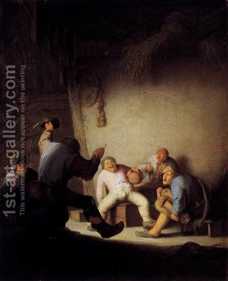 Peasants Drinking and Making Music in a Barn by Adriaen Jansz. Van Ostade - Reproduction Oil Painting