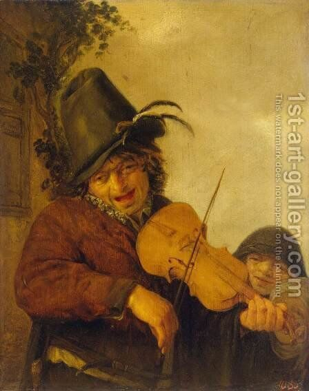 Wandering Musician by Adriaen Jansz. Van Ostade - Reproduction Oil Painting
