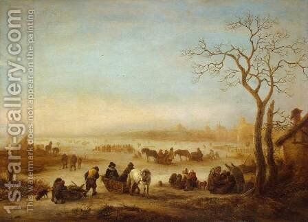 Frozen Lake by Isaack Jansz. van Ostade - Reproduction Oil Painting