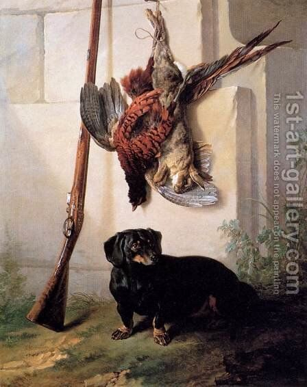 Hound with Gun and Dead Game by Jean-Baptiste Oudry - Reproduction Oil Painting