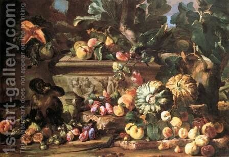 Still-Life 2 by Michele Pace Del (Michelangelo di) Campidoglio - Reproduction Oil Painting