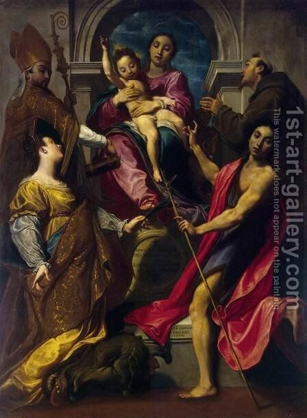 Madonna and the Child with Saints by Gregorio Pagani - Reproduction Oil Painting