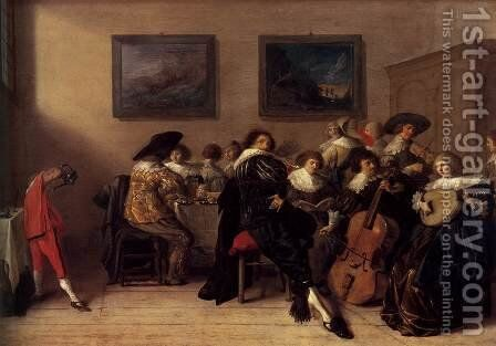 Company Dining and Making Music by Anthonie Palamedesz. (Stevaerts, Stevens) - Reproduction Oil Painting