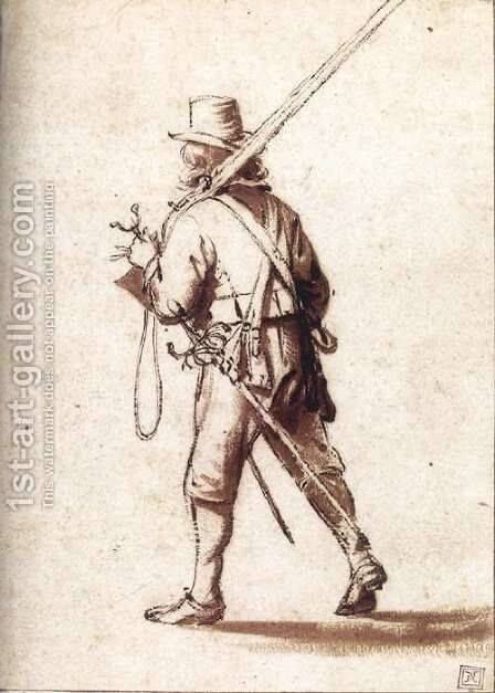 Walking Musketeer Seen from Behind by Anthonie Palamedesz. (Stevaerts, Stevens) - Reproduction Oil Painting