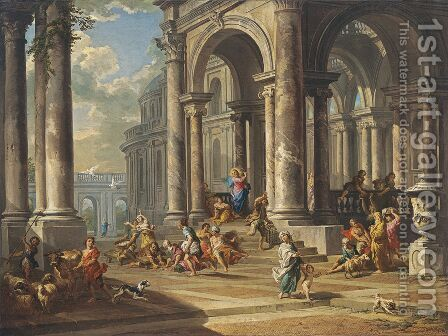 Expulsion of the Moneychangers from the Temple by Giovanni Paolo Pannini - Reproduction Oil Painting