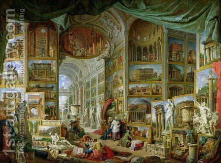 Gallery of Views of Ancient Rome by Giovanni Paolo Pannini - Reproduction Oil Painting
