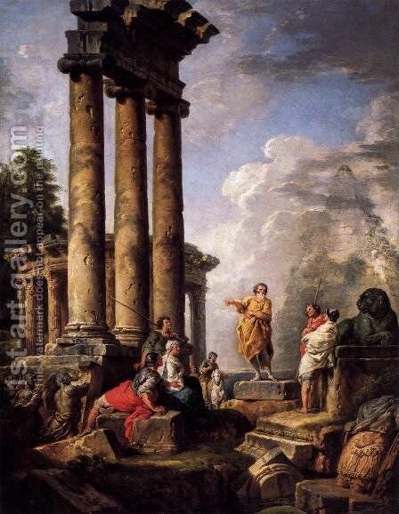 Ruins with St Paul Preaching by Giovanni Paolo Pannini - Reproduction Oil Painting