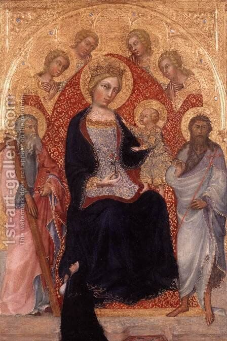 Virgin and Child Enthroned by Giovanni Fei Paolo di - Reproduction Oil Painting