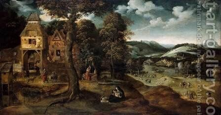 Landscape with the Flight into Egypt 2 by Joachim Patenier (Patinir) - Reproduction Oil Painting
