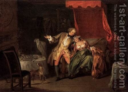 Mme. de Bouvillon Tempts Fate by Asking Ragotin to Search for a Flea by Jean-Baptiste Joseph Pater - Reproduction Oil Painting
