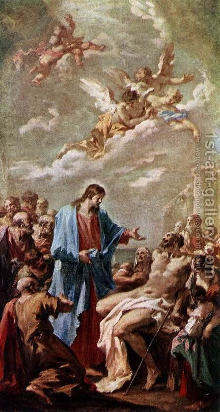 Christ Healing the Paralytic by Giovanni Antonio Pellegrini - Reproduction Oil Painting