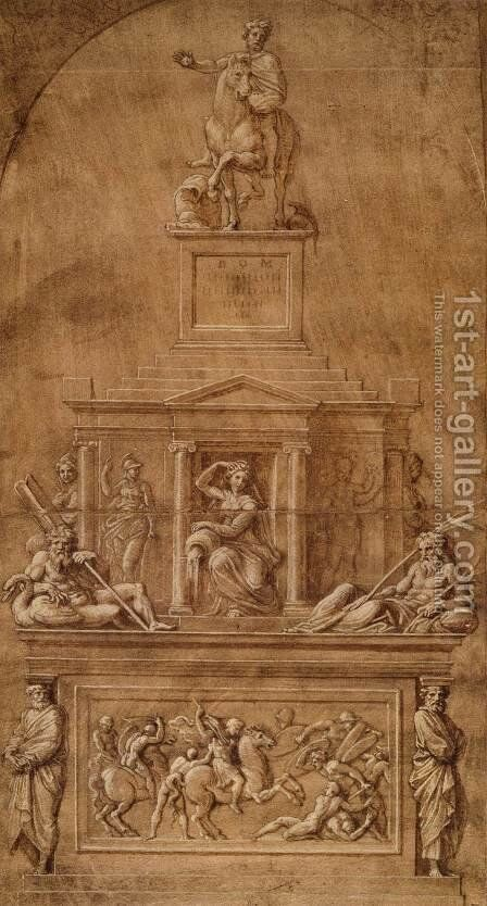 Design for the funerary monument of Francesco Gonzaga by Giovanni Francesco Penni - Reproduction Oil Painting