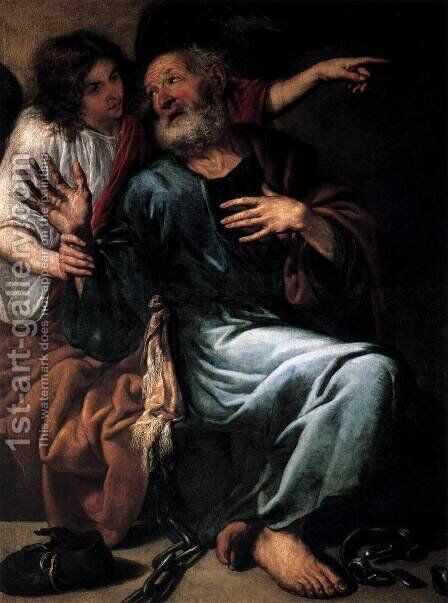The Liberation of St Peter by an Angel by Antonio de Pereda - Reproduction Oil Painting