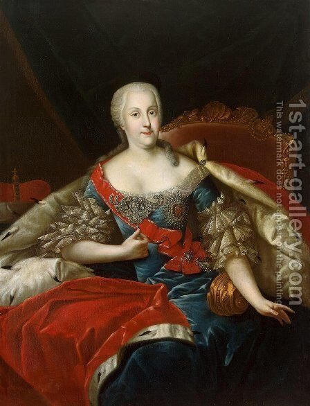 Portrait of Johanna Elisabeth, Princess of Anhalt-Zerbst by Antoine Pesne - Reproduction Oil Painting