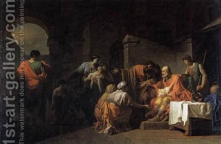 Belisarius Receiving Hospitality from a Peasant Who Had Served under Him 2 by Jean-Francois-Pierre Peyron - Reproduction Oil Painting