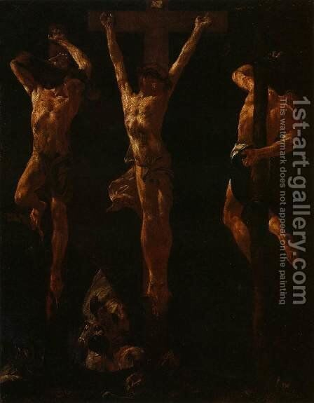 Christ Crucified between the Two Thieves by Giovanni Battista Piazzetta - Reproduction Oil Painting