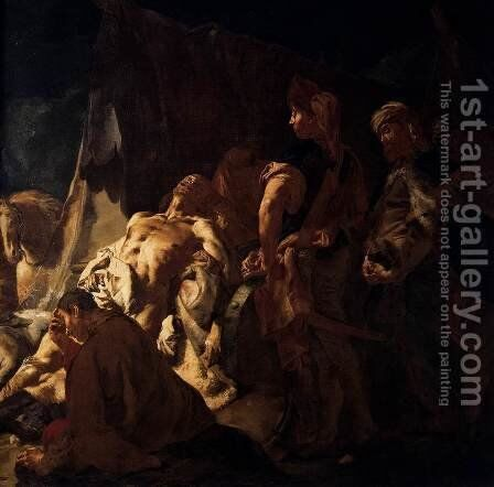The Death of Darius (detail) by Giovanni Battista Piazzetta - Reproduction Oil Painting