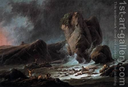 Shipwrecked Sailors Coming Ashore by Jean-Baptiste Pillement - Reproduction Oil Painting