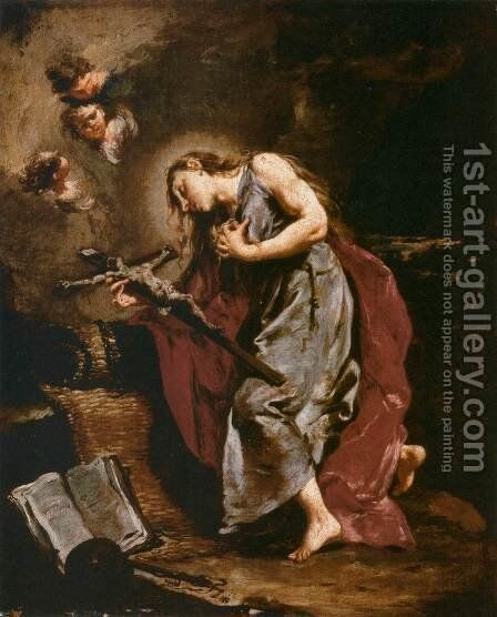 The Penitent Magdalene by Giovanni Battista Pittoni the younger - Reproduction Oil Painting