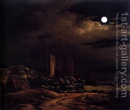 Seashore by Moonlight by Egbert van der Poel - Reproduction Oil Painting