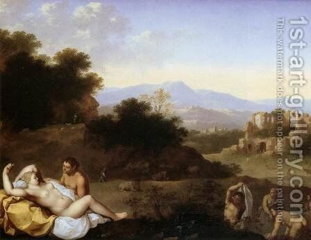 Landscape with Nymphs by Cornelis Van Poelenburgh - Reproduction Oil Painting