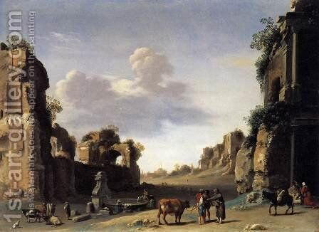 View of the Campo Vaccino by Cornelis Van Poelenburgh - Reproduction Oil Painting