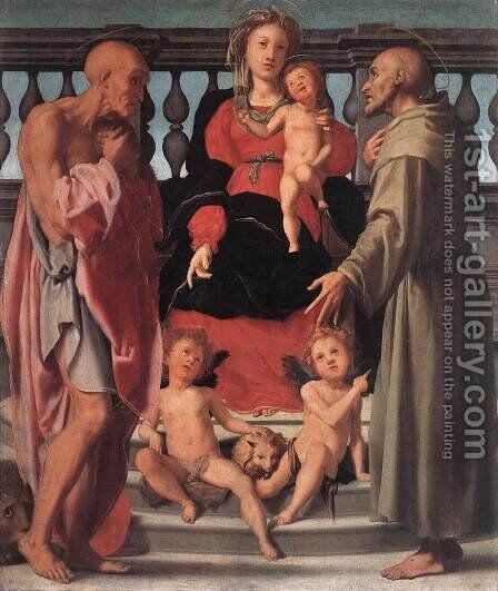 Madonna and Child with Two Saints by (Jacopo Carucci) Pontormo - Reproduction Oil Painting