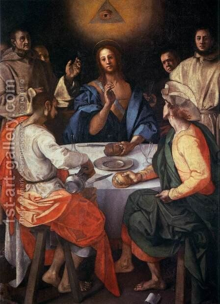 Supper at Emmaus by (Jacopo Carucci) Pontormo - Reproduction Oil Painting