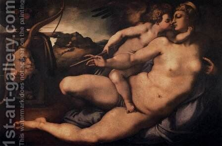 Venus and Cupid by (Jacopo Carucci) Pontormo - Reproduction Oil Painting