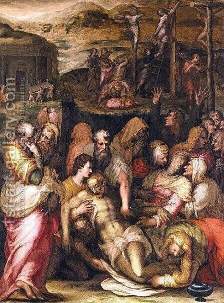 Lamentation over the Dead Christ by Francesco (Il Poppi) Morandini - Reproduction Oil Painting
