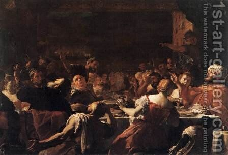 Absalom's Feast by Mattia Preti - Reproduction Oil Painting