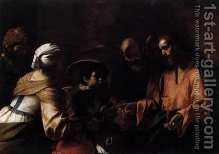 A Mother Entrusting Her Sons to Christ by Mattia Preti - Reproduction Oil Painting