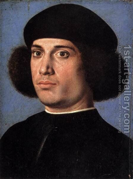 Portrait of a Man (recto) by Andrea Previtali - Reproduction Oil Painting