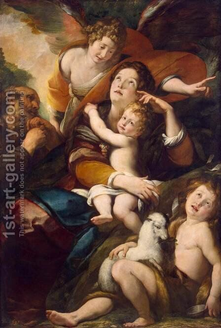 Holy Family with John the Baptist and an Angel by Giulio Cesare Procaccini - Reproduction Oil Painting