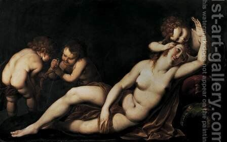 Venus and Cupids by Giulio Cesare Procaccini - Reproduction Oil Painting