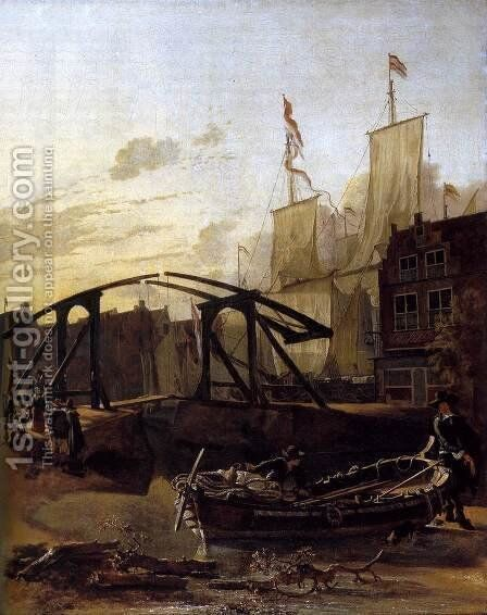View of a Harbour in Schiedam by Adam Pynacker - Reproduction Oil Painting