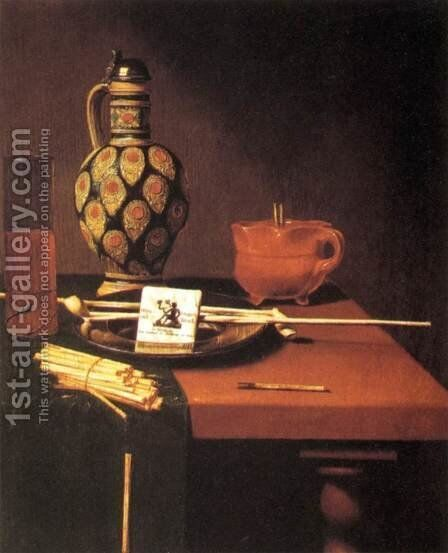 Still-Life with Porcelain Vase and Smoking Tools by Hubert van Ravesteyn - Reproduction Oil Painting
